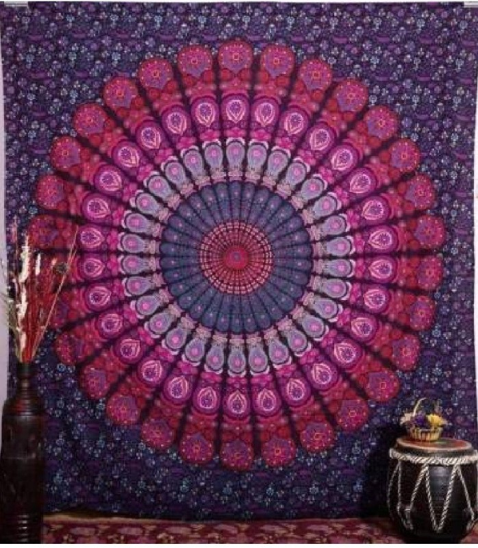 mohit creation Living Room Cotton Mandala Tapestry(Purple, Pink)