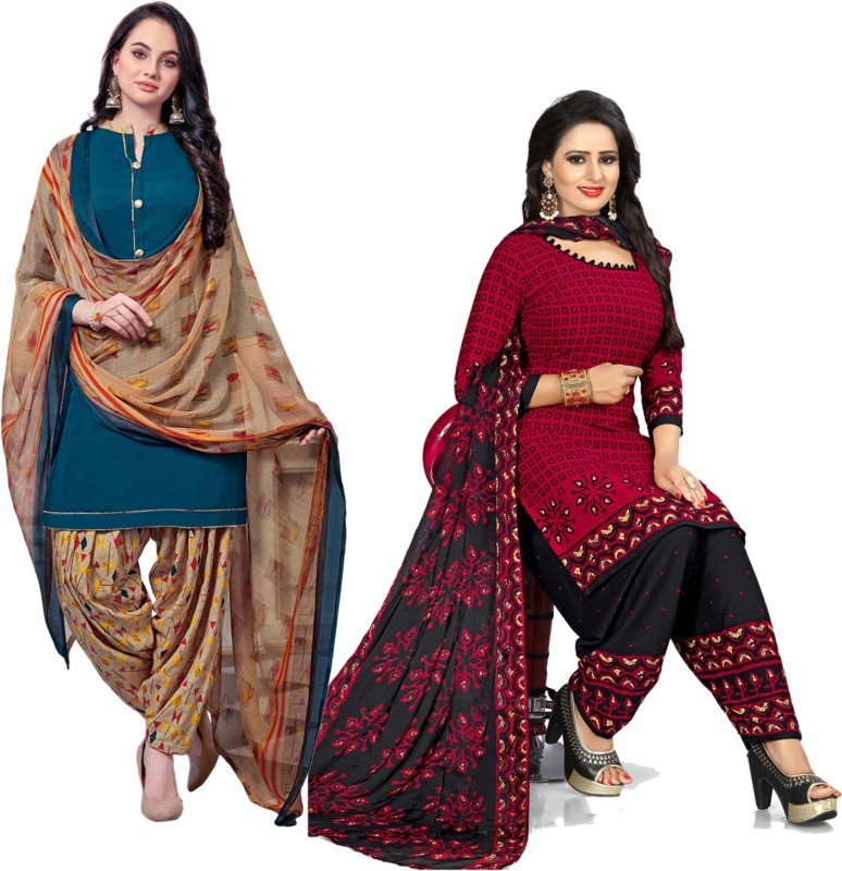 Swaron Crepe Striped, Solid, Floral Print, Printed Salwar Suit Material(Unstitched)