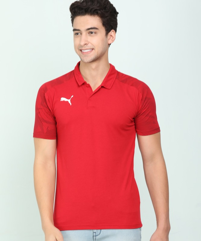 Puma Printed Men Collared Neck Red T-Shirt