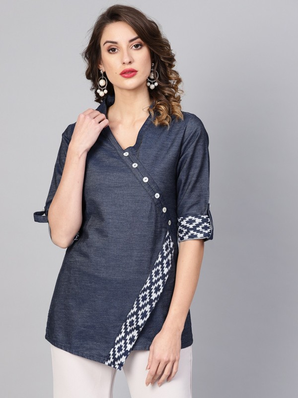 Yash Gallery Party Roll-up Sleeve Printed Women Blue Top