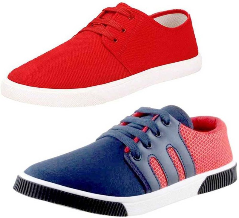 Tryviz Comfortable Red Canvas & Multi Sneaker Sport Combo Shoes Canvas Casual Walking Running Shoes for Men/Boy Pack of 2 Casuals For Men(Multicolor)