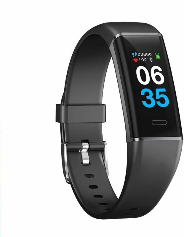 Atongm smart bracelet Fitness smart tracker(Black Strap, Size : 45.5*19.5*13.5)