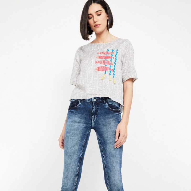 Colour Me by Lifestyle Casual Regular Sleeve Embroidered Women Grey Top