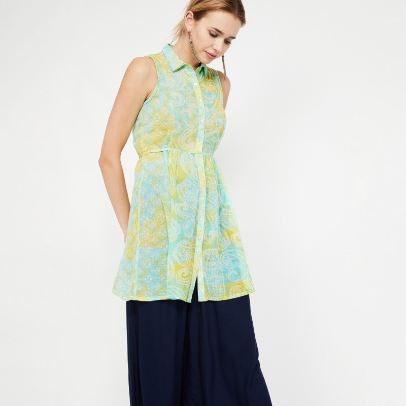 Colour Me by Lifestyle Casual No Sleeve Printed Women Green Top