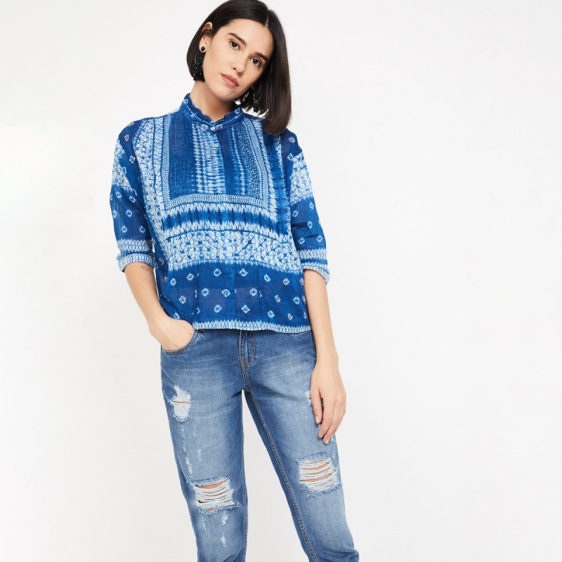 Colour Me by Lifestyle Casual Regular Sleeve Tie & Dye Women Blue Top