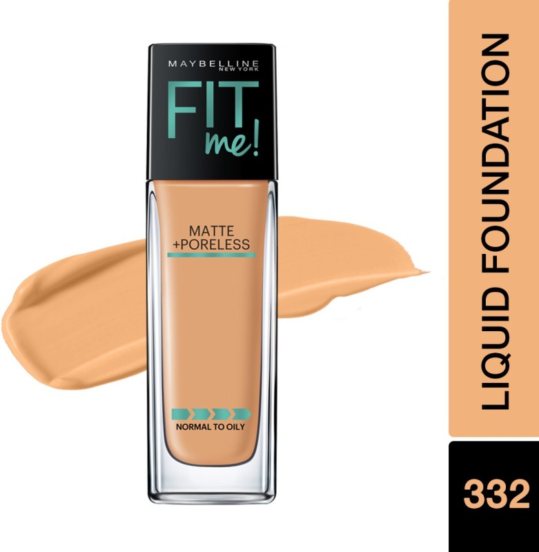 Maybelline New York Fit Me Matte+Poreless Liquid Foundation(332 Golden Caramel, 30 ml)