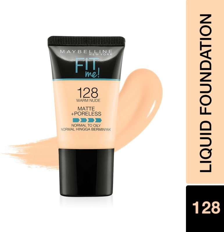 Maybelline New York Fit Me Matte+Poreless Liquid Tube Foundation(128 Warm Nude, 18 ml)