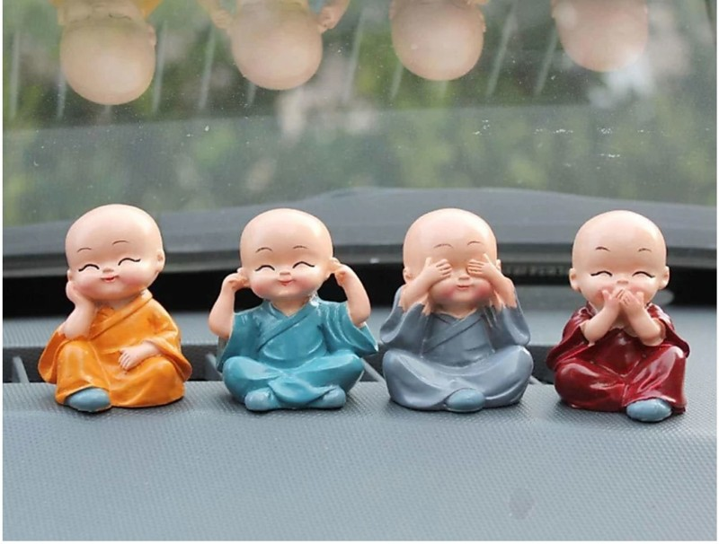 Craft Junction Handcrafted Colourfull Set of 4 Small Baby Monk Decorative Showpiece - 5.5 cm(Polyresin, Multicolor)