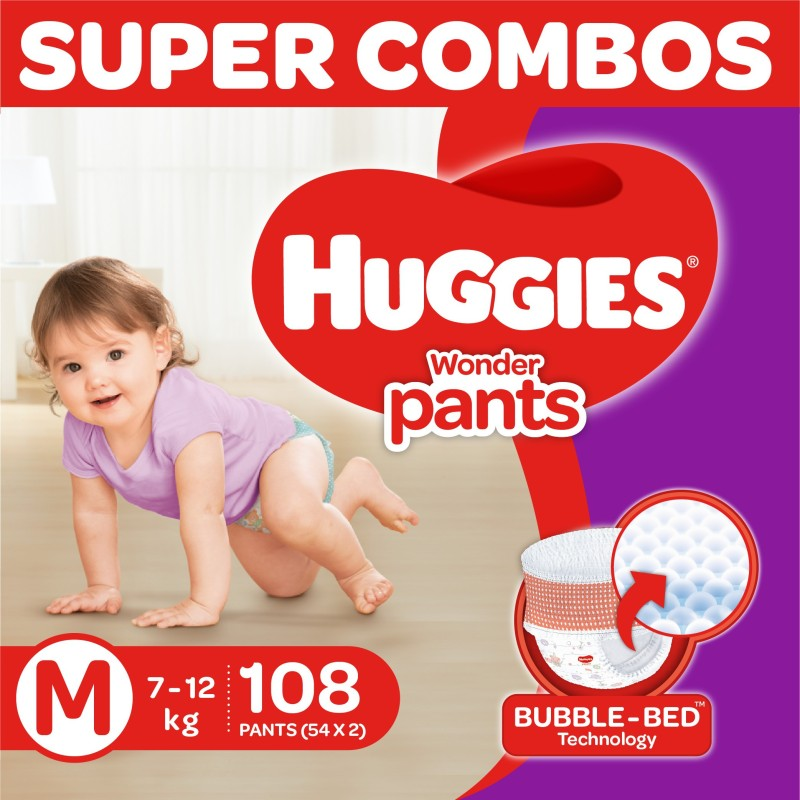 Huggies Wonder Pants Medium Size Diapers Combo Pack Of 2, 54 Counts Per Pack (108 Counts) - M(108 Pieces)
