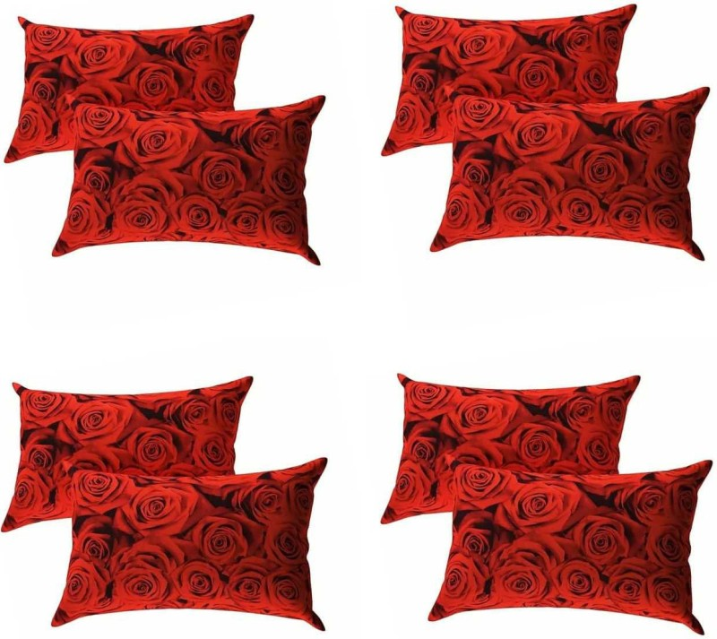 CHHAVI INDIA 3D Printed Pillows Cover(Pack of 8, 69 cm*46 cm, Red)