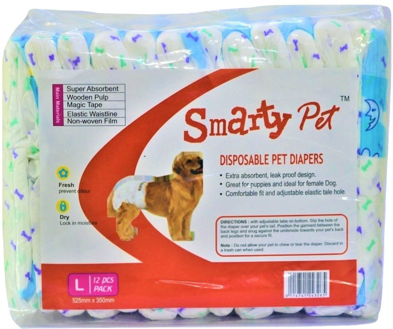 Smarty Disposable Pet Diapers for Dogs (Large, 525mm X 350mm, 12 pcs) Disposable Dog Diapers(Pack of 1 L)