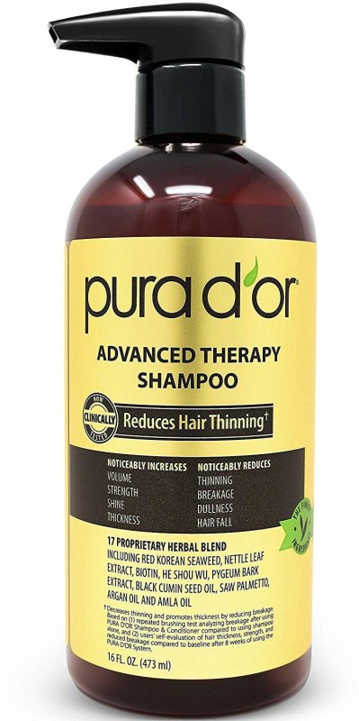 Pura D'or Advanced Therapy Shampoo Reduces Hair Thinning And Increase Volume, Made With(473.184 ml)