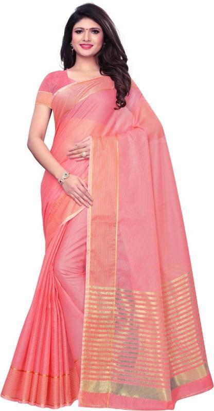 Saara Striped, Woven Kota Doria Cotton Blend, Poly Silk Saree(Pink)