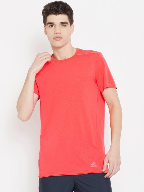 ADIDAS Solid Men Round Neck Orange T-Shirt
