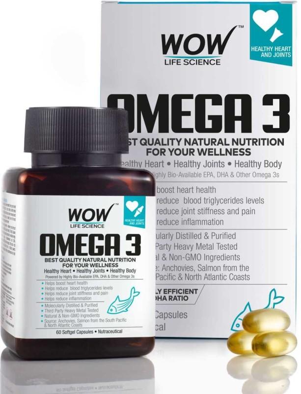WOW Life Science Omega-3 Fish Oil 1000 mg Triple Strength (550mg EPA 350mg DHA)(60 No)