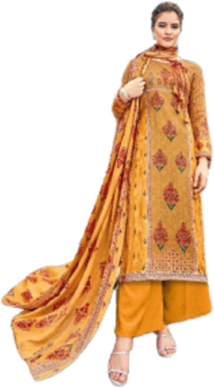 D.S.FABRICS Pashmina Printed Salwar Suit Material(Unstitched)