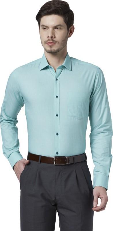 Park Avenue Men Solid Formal Green Shirt