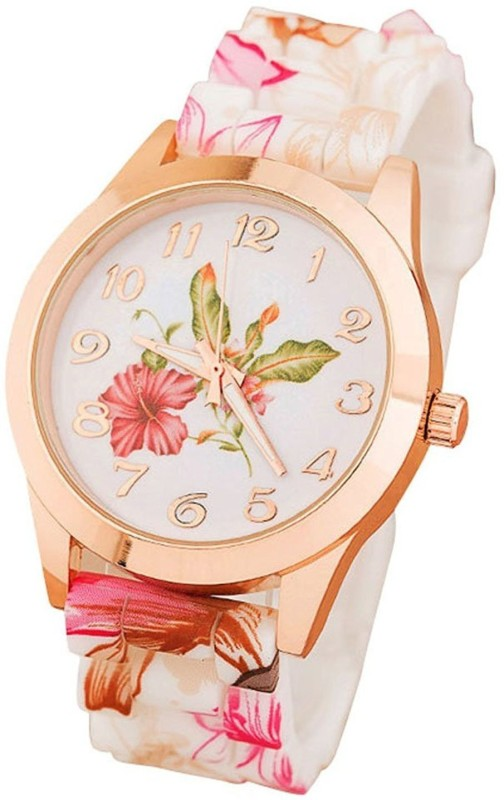 COSMIC NEW GENEVA PLATINUM SL-244 SILICONE STRAP COLORFUL FLOWERS BIG SIZE DIAL -35 mm diameter LADIES & WOMEN Analog Watch - For Women
