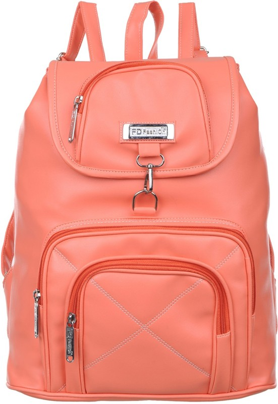 FD Fashion college backpack for girls::backpack women college bags::Branded backpack::Backpack for girls and women::Women Backpack 15 L Backpack(Orange)