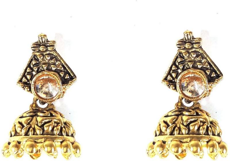 RAJPURE JEWELRY Traditional trendy gold plated meenakari floral stud earring Metal Jhumki Earring