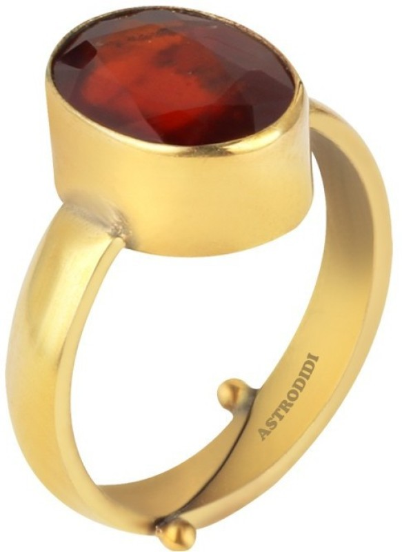 Astrodidi Gomed Gemstone / Hessonite Stone Ring (5.25 to 6.25 Ratti) Size Adjustable With Lab Certificate Brass Ring