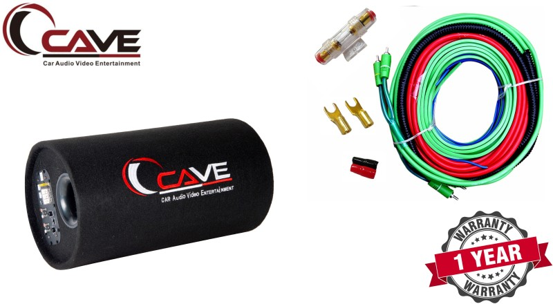 Cave RJ-332 RJ-309 WS-8022 3600w PMPO Car Bass Tube Inbuilt Amplifier and with 8 Gauge Amplifier Wiring kit Subwoofer(Powered , RMS Power: 350 W)