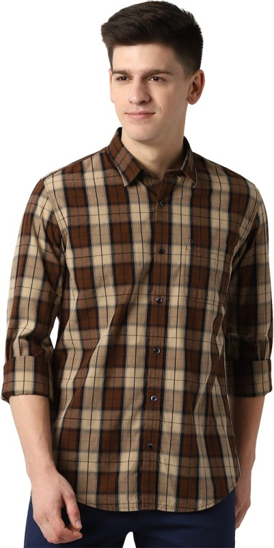 Peter England Men Checkered Casual Brown Shirt