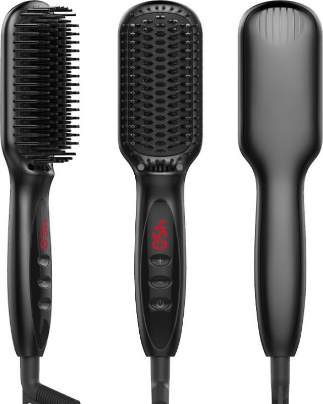 YMN 881- 3 in1 Hair Straightening Comb for Men and Women. Hair Straightener Brush(Black)