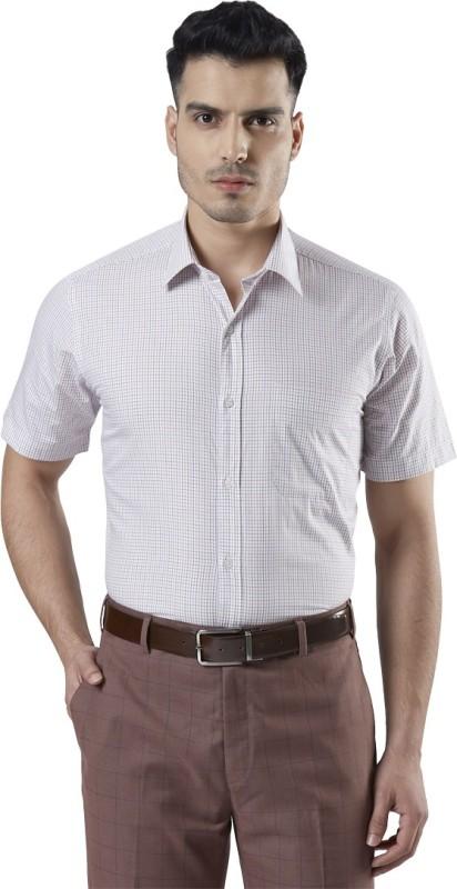 Raymond Men Checkered Formal Orange Shirt