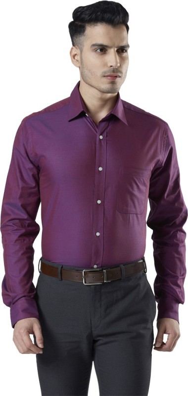 Raymond Men Self Design Formal Purple Shirt