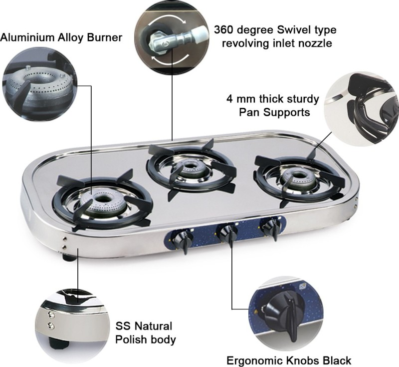 GLEN 1033 SS High Flame DT AL Stainless Steel Manual Gas Stove(3 Burners)