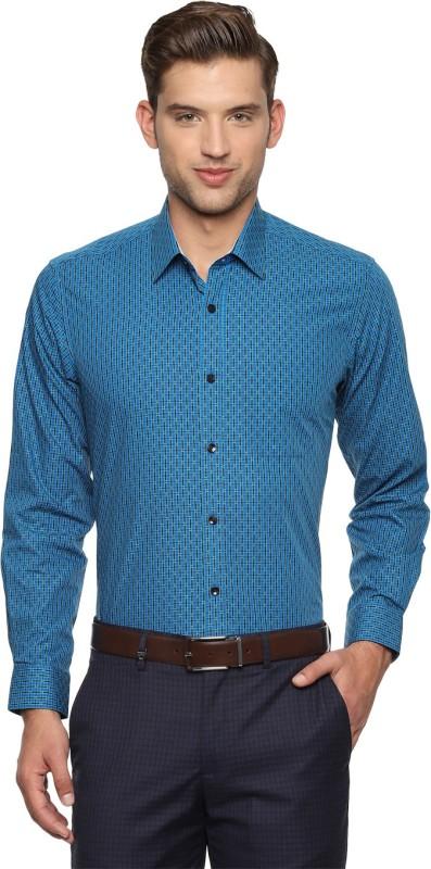 Louis Philippe Men Checkered Formal Blue Shirt