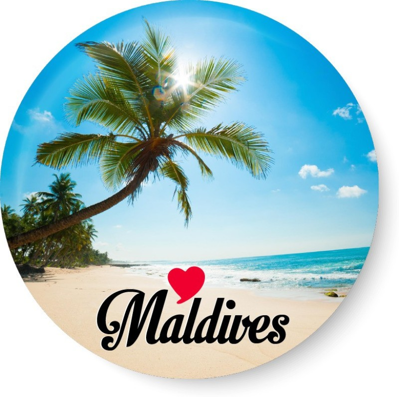 PEACOCKRIDE Love Maldives Souvenir l Travel I Fridge Magnet Pack of 1(Multicolor)
