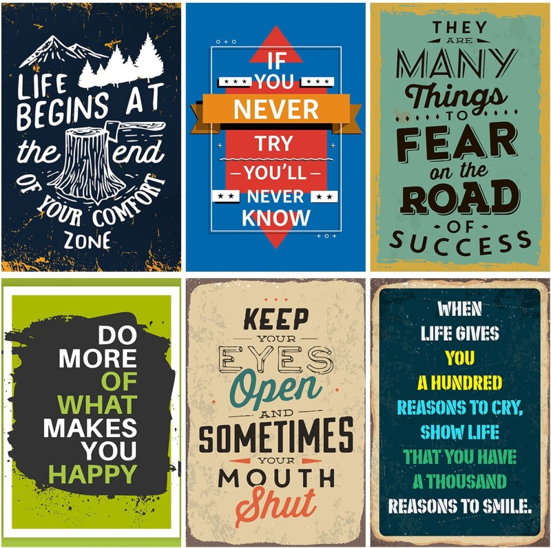 Combo Pack of 6 Motivational Wall Posters and Inspirational Quotes for Office and Home Photographic Paper Paper Print(12 inch X 18 inch, Rolled)