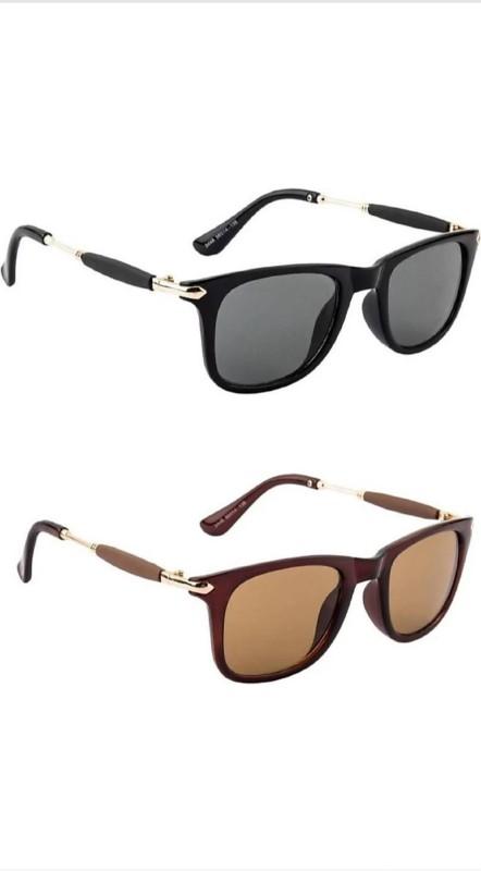 femish Wayfarer Sunglasses(Black, Brown)
