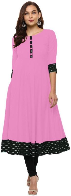 xiamen Festive & Party Solid Women Kurti(Pink)