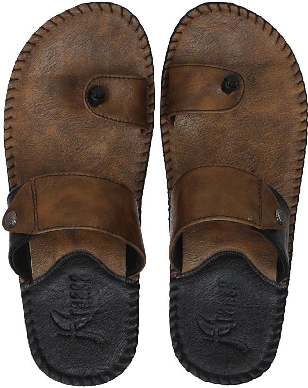 Kraasa Men Synthetic Leather Chappal (Camel) Flip Flops