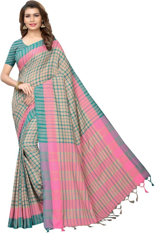 Medlly Self Design, Digital Print, Embroidered, Striped, Woven, Embellished, Applique, Solid, Checkered Fashion Cotton Silk Saree(Light Blue, Pink)