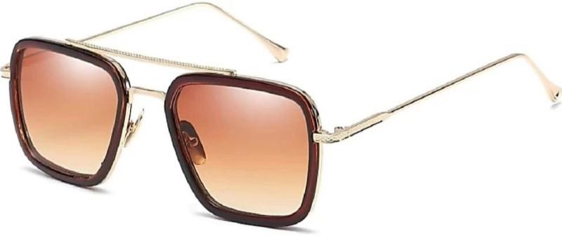 FEMISH Rectangular Sunglasses(Brown)