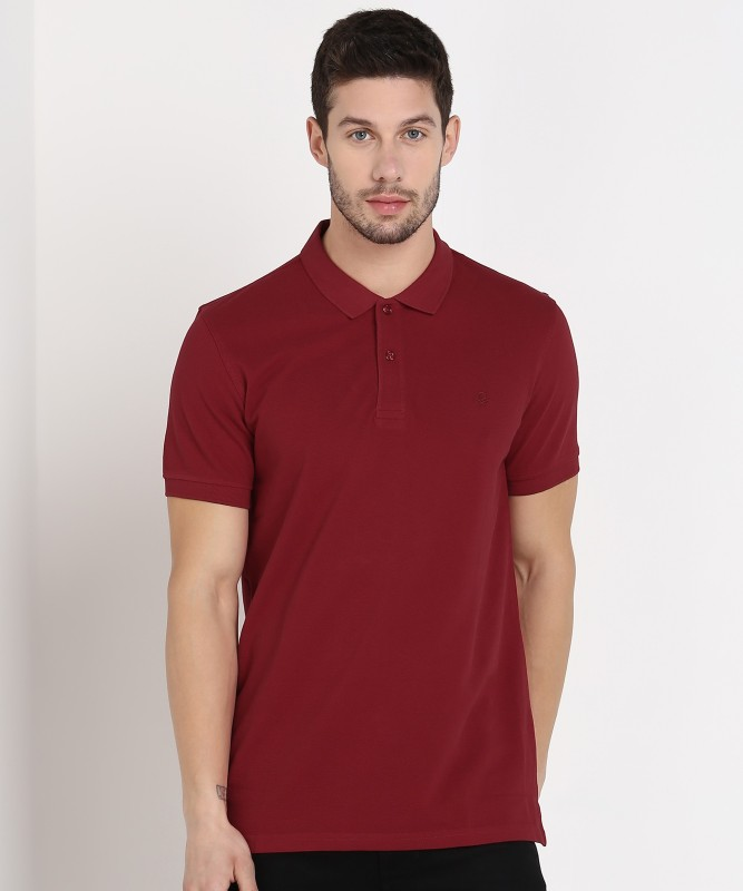 United Colors of Benetton Solid Men Polo Neck Maroon T-Shirt