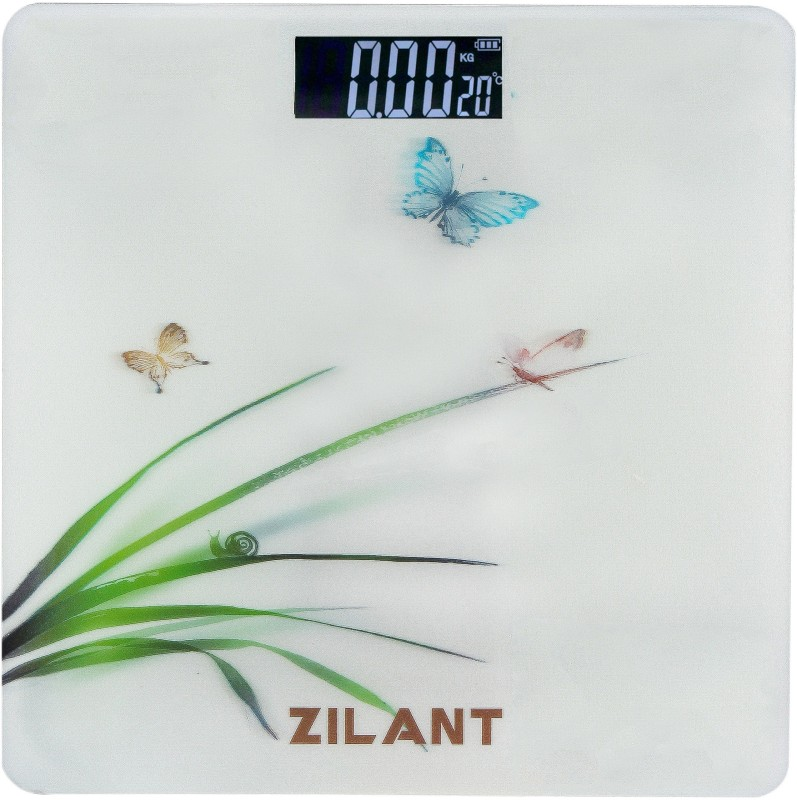 Zilant Personal Bathroom Tempered 3D Glass Digital Scale Weighing Machine with Step on Technology for Accurate Body Weight Monitor, WS-012 Weighing Scale(White-Butterfly)