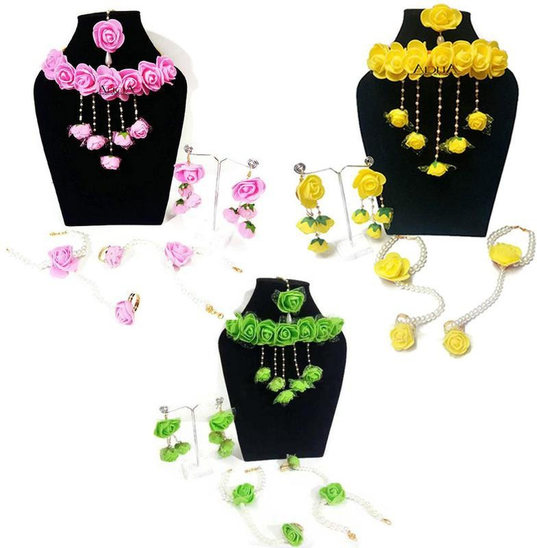 QUVYARTS Fabric Jewel Set(Pink, Yellow, Green)
