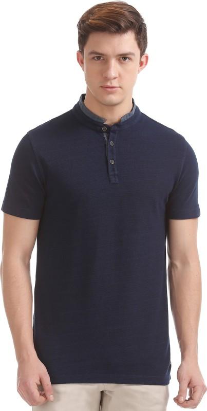 Arrow Blue Jean Company Solid Men Mandarin Collar Blue T-Shirt