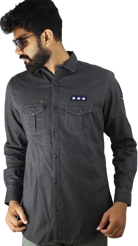 Indi Hemp Men Solid Casual Grey Shirt