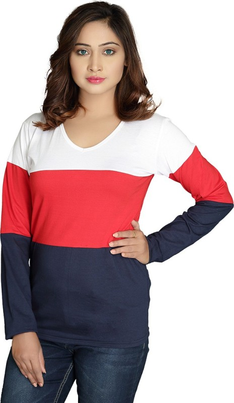 Magrechee Color Block Women V Neck Red T-Shirt
