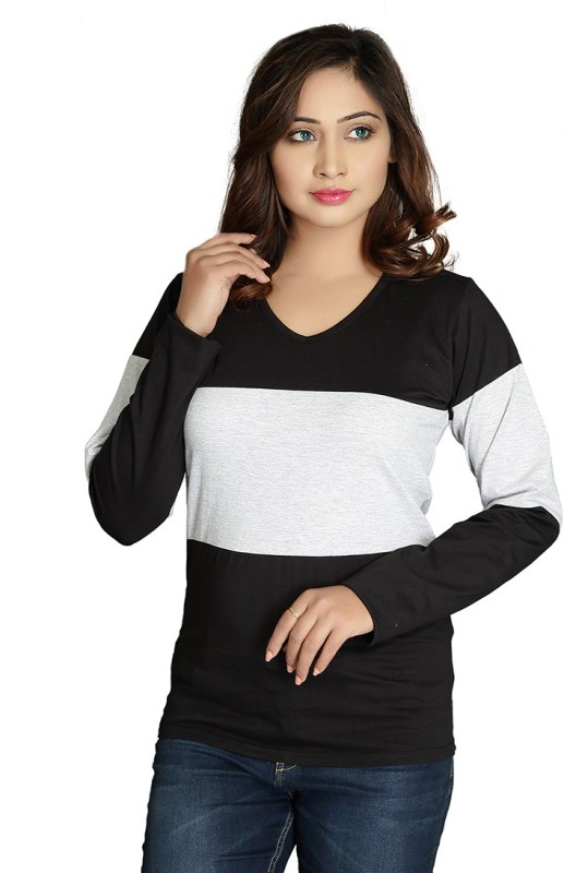 Magrechee Color Block Women V Neck Black T-Shirt