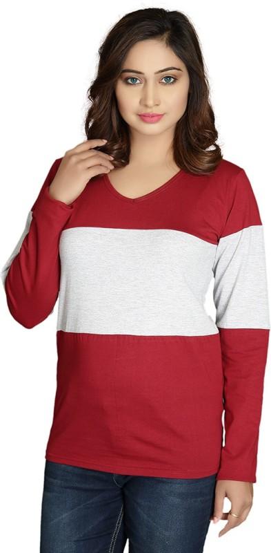 Magrechee Color Block Women V Neck Maroon T-Shirt