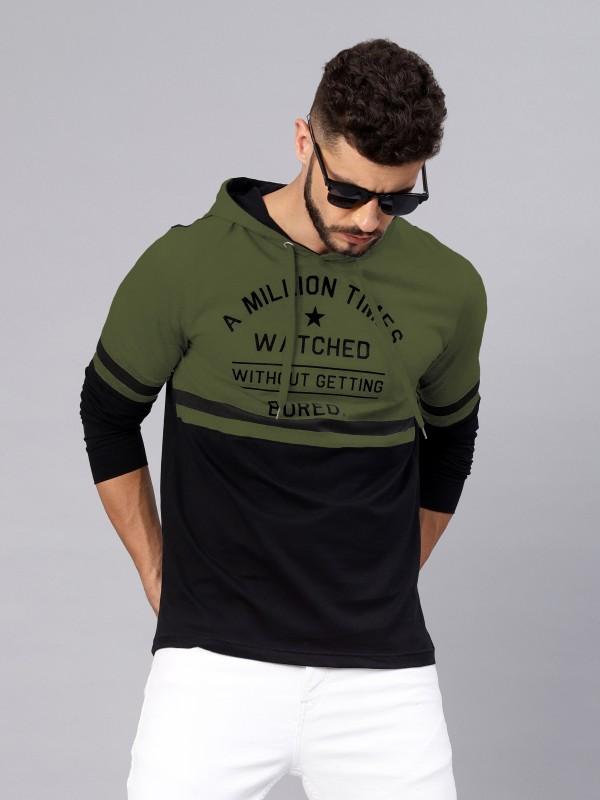 MANIAC Printed Men Hooded Neck Dark Green, Black T-Shirt