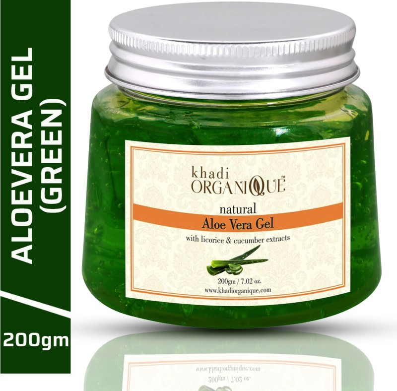 Khadi Organique Herbal Natural Aloe Vera Gel Green Soothing, Cooling, Moisturizing, Vegan , It Absorbs Rapidly With No Sticky Residue(200 g)
