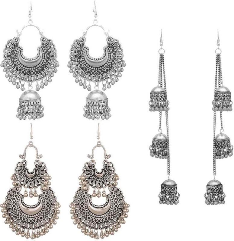 PRASUB Combo of 3 Designer Trendy Jhumki earrings Silver, for women and Girls Alloy Chandbali Earring, Jhumki Earring